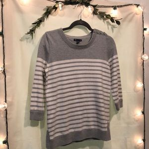 Gap Gray and White Striped Sweater